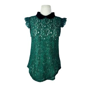 MERAKI collard lace cap sleeve top | M